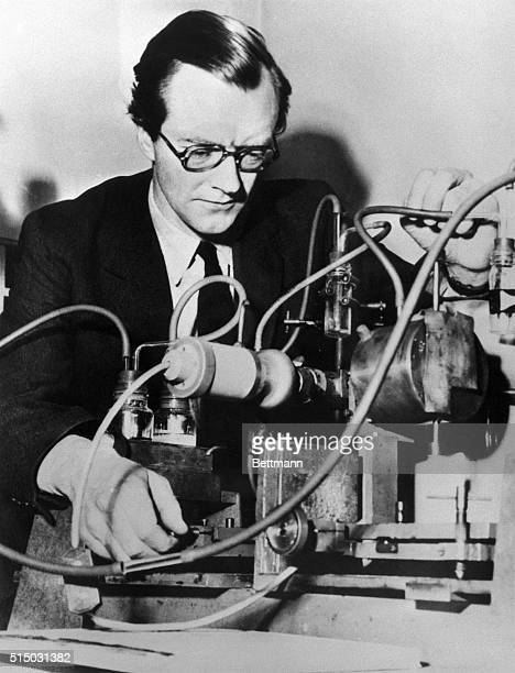 Shown at work in his laboratory recently is British scientist 45yearold DrMaurice Hugh Frederick Wilkins who it was announced in Stockholm today has...