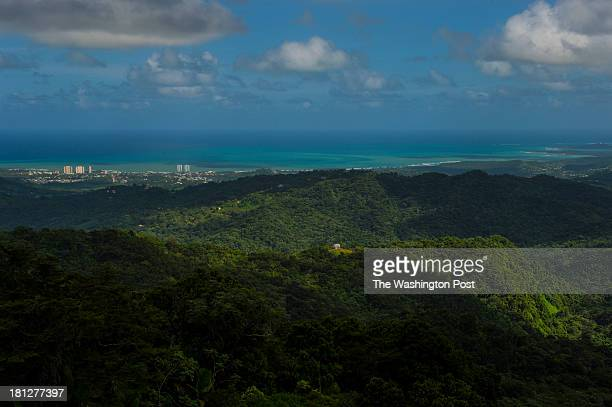 Shown in the distance is the seaside town of Luquillo seen from a lookout tower at the El Yunque National Forest on December 4 2012 in Rio Grande PR