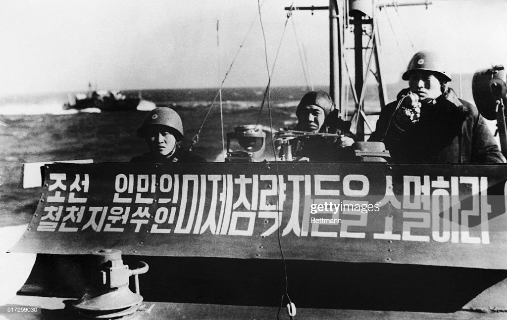 Shown in this undated file photo is a North Korean patrol boat bearing a message which is said to read: 'Destroy the American invaders, the enemy of North Korea.' Four armed North Korean boats took part on January 23rd in the capture of the American intelligence ship U.S.S. Pueblo.