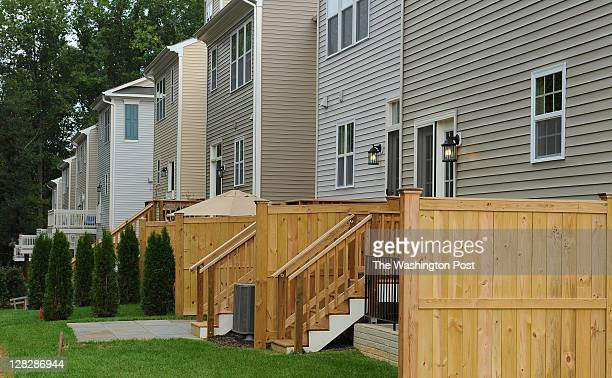 Shown is the rear exterior of the Arlington model end unit townhouse at the Rock Creek Overlook housing development on September 30 2011 in Rockville...
