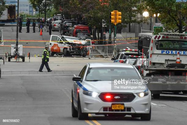 Shown is the rental truck used which sits at Chambers St and West Highway where Sayfullo Saipov an Uzbek immigrant drove down a bike path for twenty...