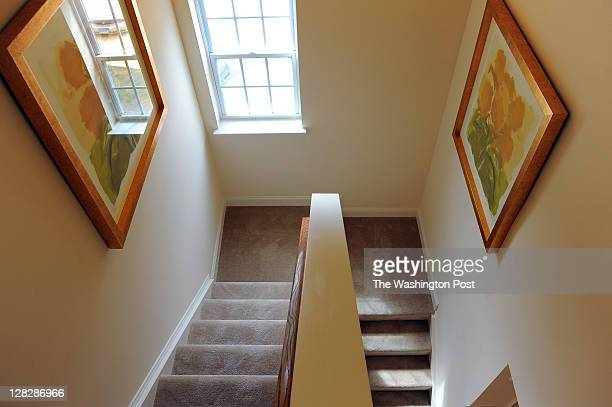 Shown is the stairwell in the Arlington model end unit townhouse at the Rock Creek Overlook housing development on September 30 2011 in Rockville Md...