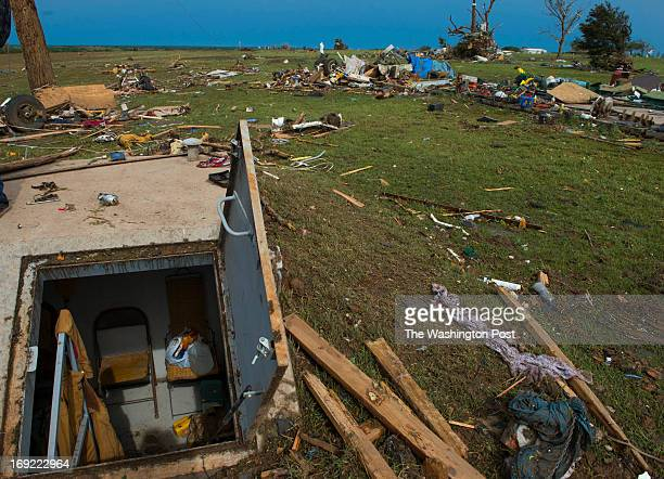 Shown is the storm shelter that Gary and Ferrell Mitchusson used to ride out a massive tornado on May 21 2013 in Moore Ok Their home was completely...