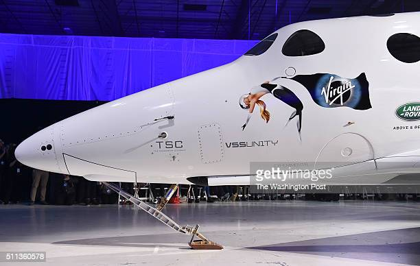 Shown is Virgin Galactic's new SpaceShip Two VSS Unity spaceship during a rollout ceremony at the Mojave Air and Space Port on February 19 2016 in...