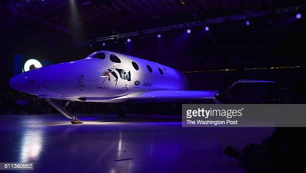 Shown is Virgin Galactic's new SpaceShip Two VSS Unity spaceship during rollout ceremony at the Mojave Air and Space Port on February 19 2016 in...