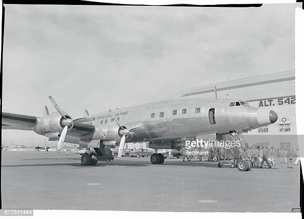 Shown on the airstrip at Lowry Air Force Base is the plush Super Constellation slated for use as President Eisenhower's official plane Mr and Mrs...