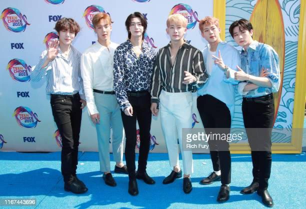 Shownu Wonho Minhyuk Hyungwon Joohoney and IM of Monsta X attend FOX's Teen Choice Awards 2019 on August 11 2019 in Hermosa Beach California