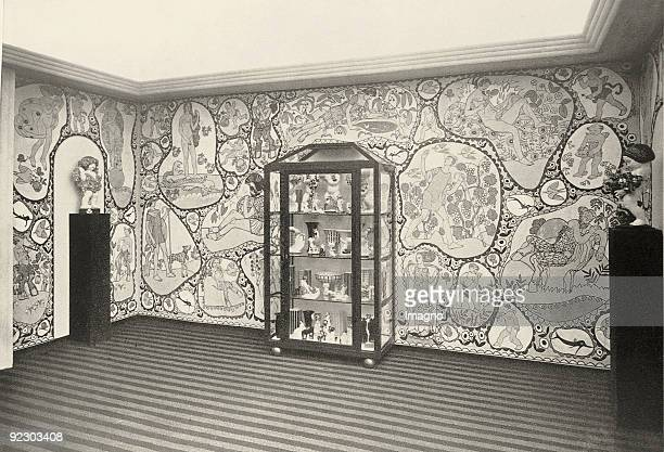 Showroom of 'Viennese ceramics' by Bertold Loeffler and Michael Powolny at the Exhibition of Arts and Crafts 1912 osterreichischen Museum fur Kunst...