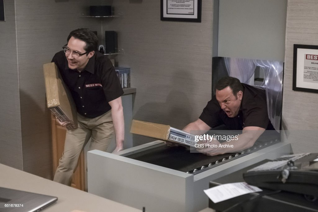 'Showroom Showdown' -- When Kevin and Chale get jobs working in the warehouse at an electronics store to help pay for the wedding, Chale's quick promotion to the sales floor kick-starts Kevin's competitive side, on KEVIN CAN WAIT, Monday, March 13 (8:00-8:30 PM, ET/PT) on the CBS Television Network. Pictured: Ryan Cartwright, Kevin James