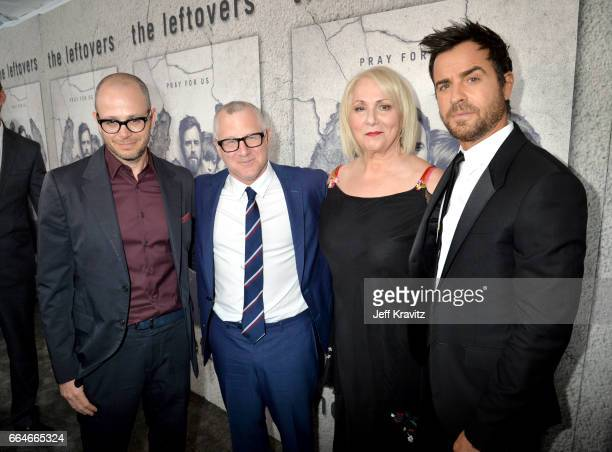 Showrunner Damon Lindelof CoCreator Tom Perrotta Director Mimi Leder and actor Justin Theroux attend HBO's The Leftovers season 3 premiere and after...