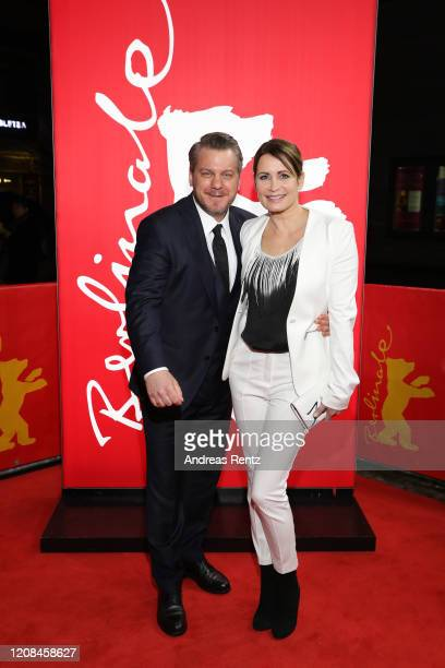 "Showrunner Marvin Kren and Anja Kling attends the Netflix premiere of ""Freud"" during the 70th Berlinale International Film Festival Berlin at Zoo..."