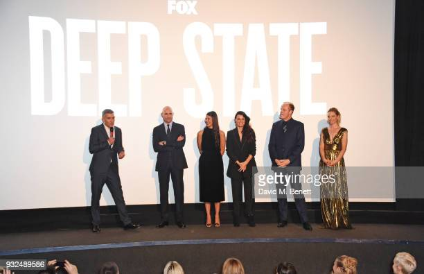Showrunner/CoCreator Matthew Parkhill introduces cast members Mark Strong Karima McAdams Lyne Renee Alistair Petrie and Anastasia Griffith at the...