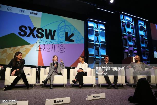 Showrunner/creator Lisa Joy actors Evan Rachel Wood Thandie Newton James Marsden and Jeffrey Wright speak onstage at the Westworld Featured Session...