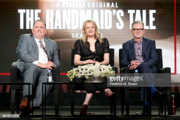 Showrunner/Executive producer Bruce Miller executive producer/actor Elisabeth Moss and executive producer Warren Littlefield of 'The Handmaid's Tale'...