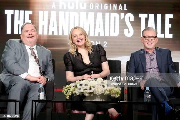 Showrunner/Executive producer Bruce Miller executive producer/actor Elisabeth Moss and executive producer Warren Littlefield of 'The Handmaid's Tale'...