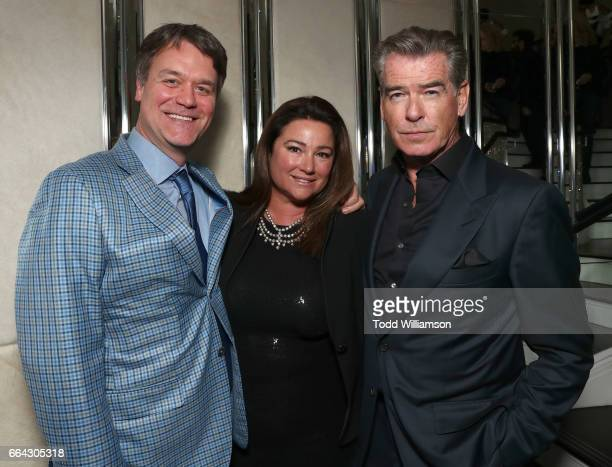 """Showrunner/Executive Producer Kevin Murphy, Keely Shaye Brosnan and Pierce Brosnan attend the after party for the premiere oif AMC's """"The Son"""" on..."""
