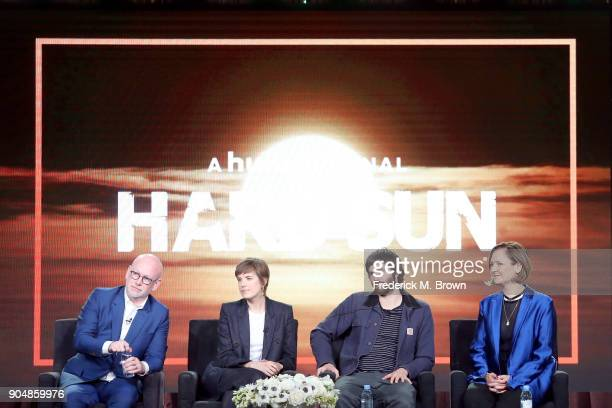 Showrunner/Executive producer Neil Cross actors Agyness Deyn and Jim Sturgess and executive producer Kate Harwood of 'Hard Sun' speak onstage during...