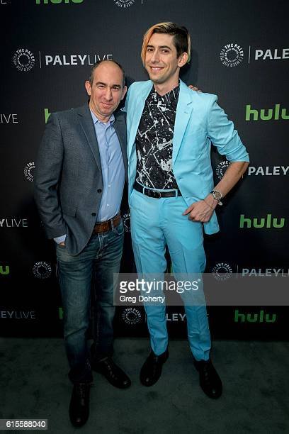 "Showrunner/Executive Producer Robert Cooper and Executive Producer/Writer Max Landis arrive for the PaleyLive LA - ""Dirk Gently's Holistic Detective..."