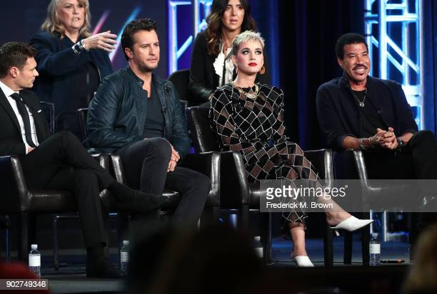 Showrunner/executive producer Trish Kinane coexecutive producer Megan Michaels Wolflick host Ryan Seacrest judges Luke Bryan Katy Perry and Lionel...