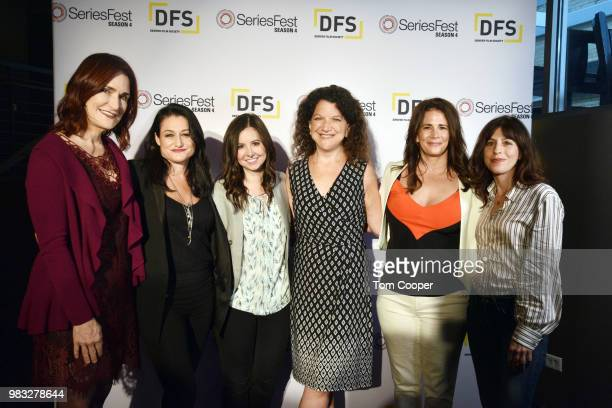 Showrunners Raelle Tucker Jessica Goldberg and Jessica Borsickzy at the Who Runs the Show Women Panel at the SeriesFest Season 4 at The SIE...