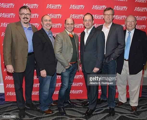 Showrunners Vince Gilligan Terrence Winter Matt Weiner Gareth Neame Alex Gansa and Julian Fellowes attend Variety's Primetime Emmy Elite Showrunners...