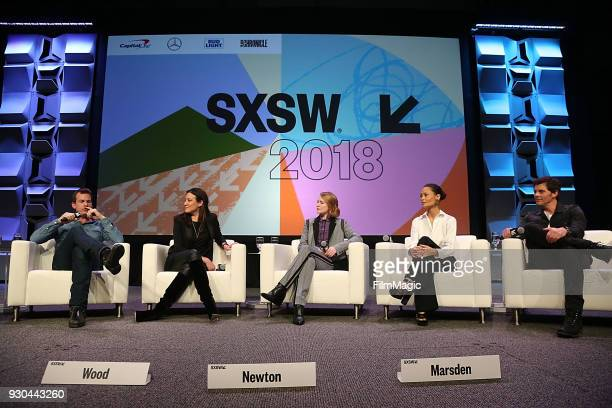 Showrunners/creators Jonathan Nolan and Lisa Joy actors Evan Rachel Wood Thandie Newton and James Marsden speak onstage at the Westworld Featured...