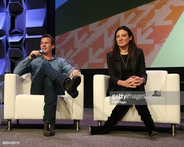 Showrunners/creators Jonathan Nolan and Lisa Joy speak onstage at the Westworld Featured Session during SXSW at Austin Convention Center on March 10...
