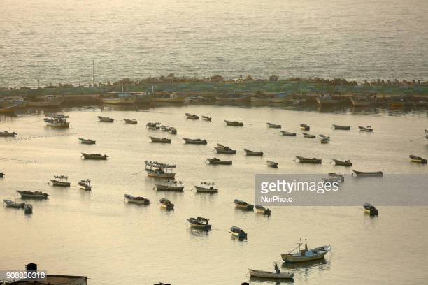 shows a general view of the sea port in Gaza City on January 22 2018