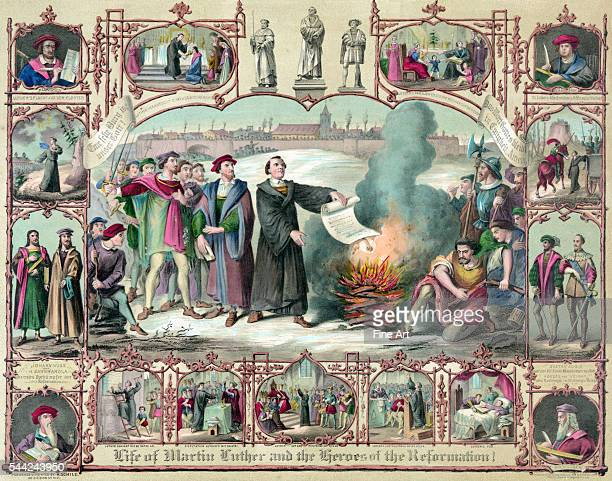 Shows Luther burning the papal bull ordering his excommunication as well as scenes from his life and portraits of Hus Savonarola Wycliffe Cruciger...