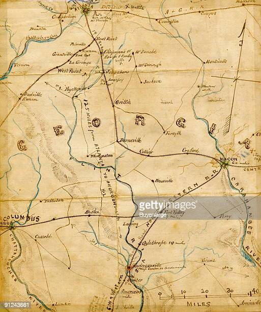 Shows railroad lines emanating south and east of Atlanta going toward Macon and Columbus Ga with a notation 125 miles from Atlanta to Andersonville...