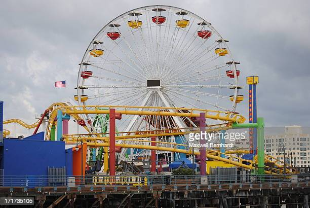 Shows some of the rides on the Santa Monica pier on a bleak February day.