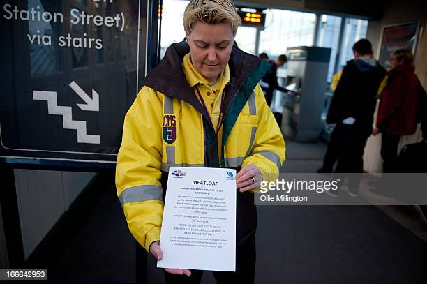 Showsec staff handing out an official statement at Nottingham Station to fans explaining the reason for Meat Loaf canceling a sold out show an hour...