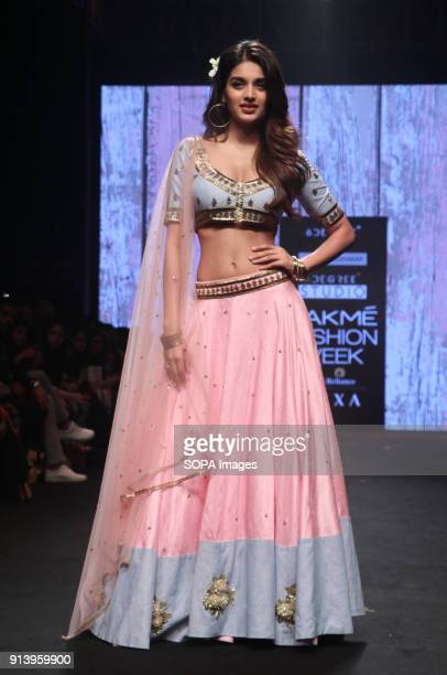 Showstopper Nidhhi Agerwal presents the collection of Designer Shloka Sudhakar at Lakme Fashion Week Summer Resort 2018 at Jio Garden in Mumbai