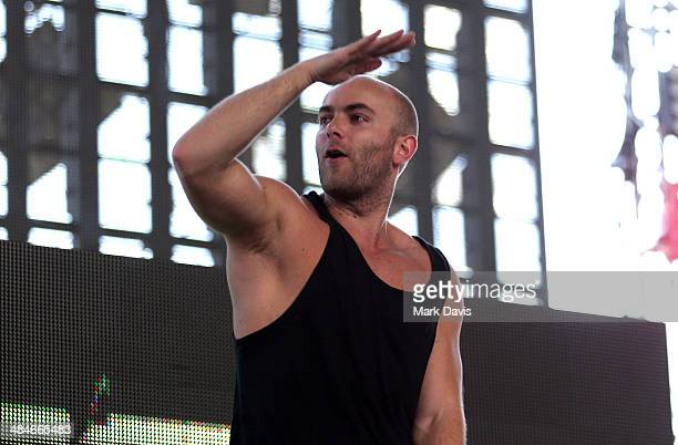 Showtek performs onstage during day 3 of the 2014 Coachella Valley Music Arts Festival at the Empire Polo Club on April 13 2014 in Indio California