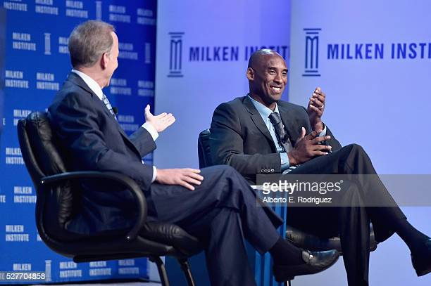 Showtime Fox and Westwood One radio network sportscaster Jim Gray and retired NBA Champion CEO of Kobe Inc Kobe Bryant speak onstage during 2016...