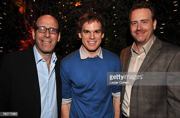 LOS ANGELES DECEMBER 4 Showtime's Matt Blank actor Michael C Hall and Showtime's Bob Greenblatt at Showtime's Holiday Press Party at a private...