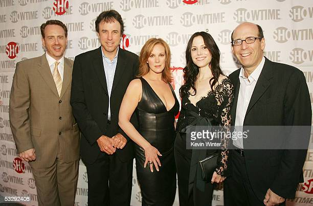 Showtime's President of Entertainment Robert Greenblatt and Chairman and CEO Matt Blank pose with actors Kevin Nealon Elizabeth Perkins and...