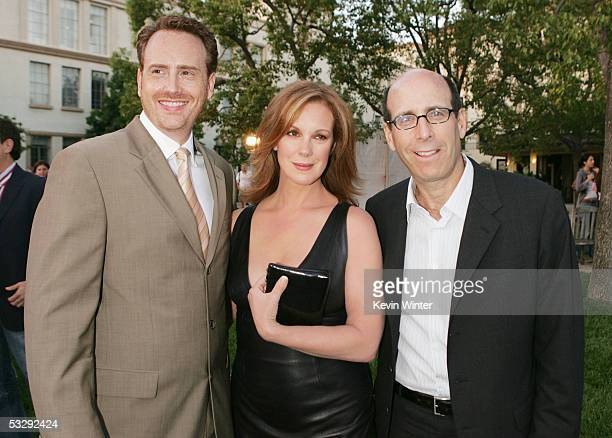 Showtime's President of Entertainment Robert Greenblatt and Chairman and CEO Matt Blank pose with actress Elizabeth Perkins at the premiere...