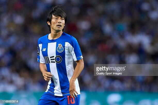 Shoya Nakajima of FC Porto looks on during the Liga Nos match between FC Porto and Vitoria FC at Estadio do Dragao on August 17, 2019 in Porto,...