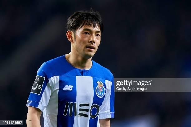 Shoya Nakajima of FC Porto looks on during the Liga Nos match between FC Porto and Rio Ave FC at Estadio do Dragao on March 07, 2020 in Porto,...