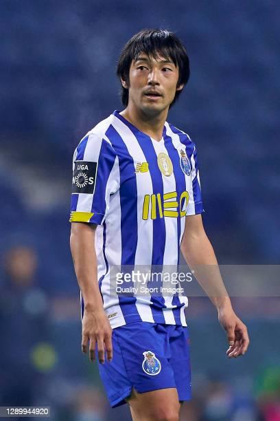 Shoya Nakajima of FC Porto looks on during the Liga NOS match between FC Porto and CD Tondela at Estadio do Dragao on December 05, 2020 in Porto,...