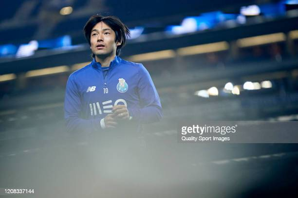 Shoya Nakajima of FC Porto looks on prior to the Liga Nos match between FC Porto and Portimonense SC at Estadio do Dragao on February 23, 2020 in...