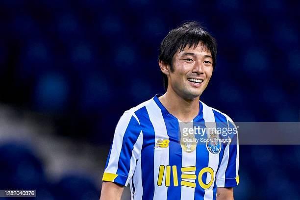 Shoya Nakajima of FC Porto reacts during the Liga NOS match between FC Porto and Gil Vicente FC at Estadio do Dragao on October 24, 2020 in Porto,...
