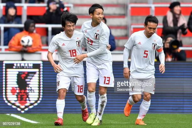 Shoya Nakajima of Japan celebrates 11 with Yu Kobayashi of Japan Yuto Nagatomo of Japan during the International Friendly match between Japan v Mali...