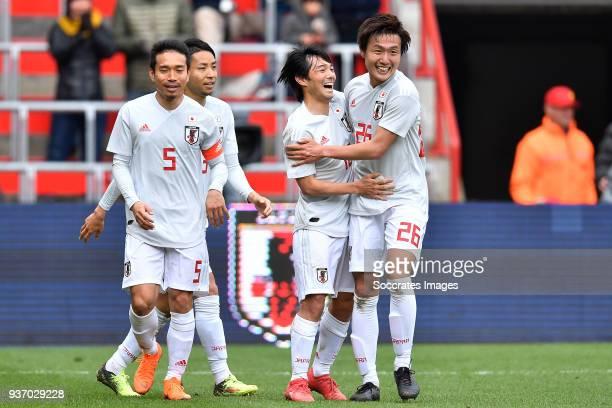 Shoya Nakajima of Japan celebrates 11 with Yuto Nagatomo of Japan Kento Misao of Japan during the International Friendly match between Japan v Mali...