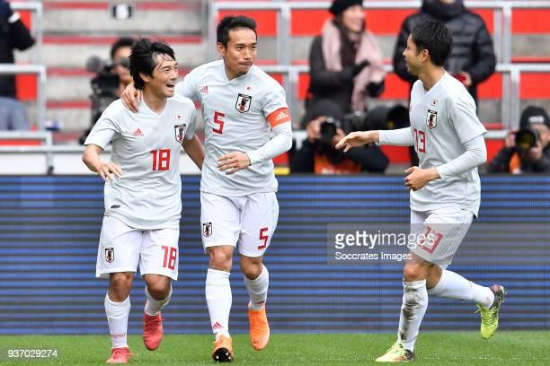 Shoya Nakajima of Japan celebrates 11 with Yuto Nagatomo of Japan Yu Kobayashi of Japan during the International Friendly match between Japan v Mali...