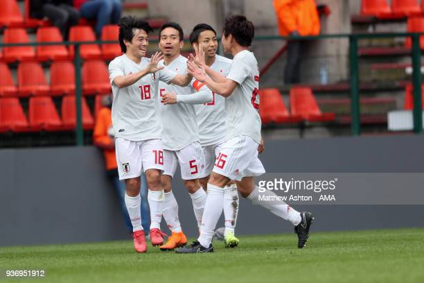 Shoya Nakajima of Japan celebrates after scoring a goal to make it 11 during the International friendly match between Japan and Mali at the Stade de...
