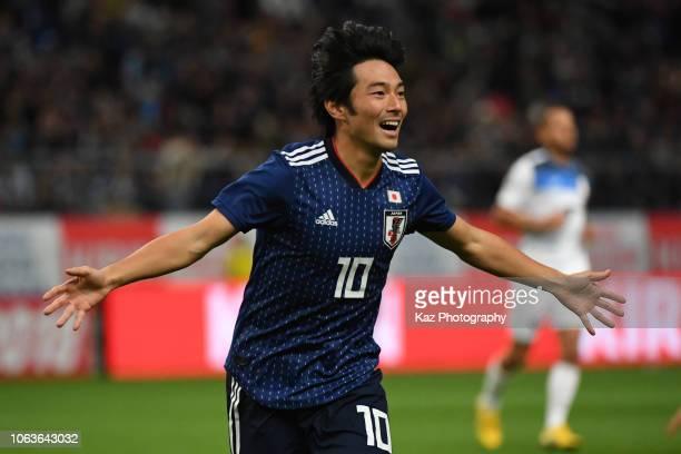 Shoya Nakajima of Japan celebrates after scoring his team's 4th goal during the international friendly match bewteen Japan and Kyrgyz at Toyota...