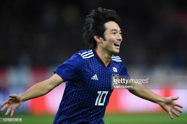 Shoya Nakajima of Japan celebrates scoring a goal during the international friendly match bewteen Japan and Kyrgyz at Toyota Stadium on November 20...