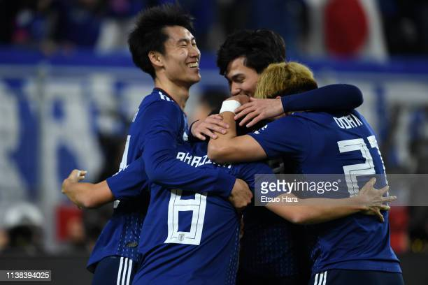 Shoya Nakajima of Japan celebrates scoring his side's first goal during the international friendly match between Japan and Bolivia at Noevir Stadium...